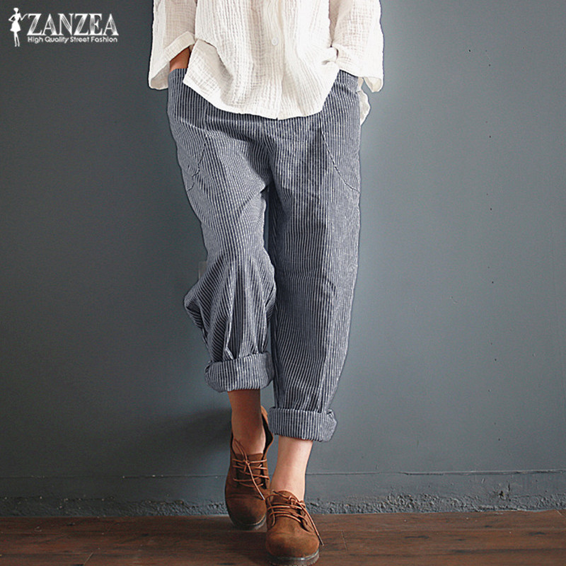 Plus Size Harem   Pants   Women's Casual Striped Trousers ZANZEA 2019 Autumn Elastic Waist Long   Pants   Female Baggy Pantalon Palazzo