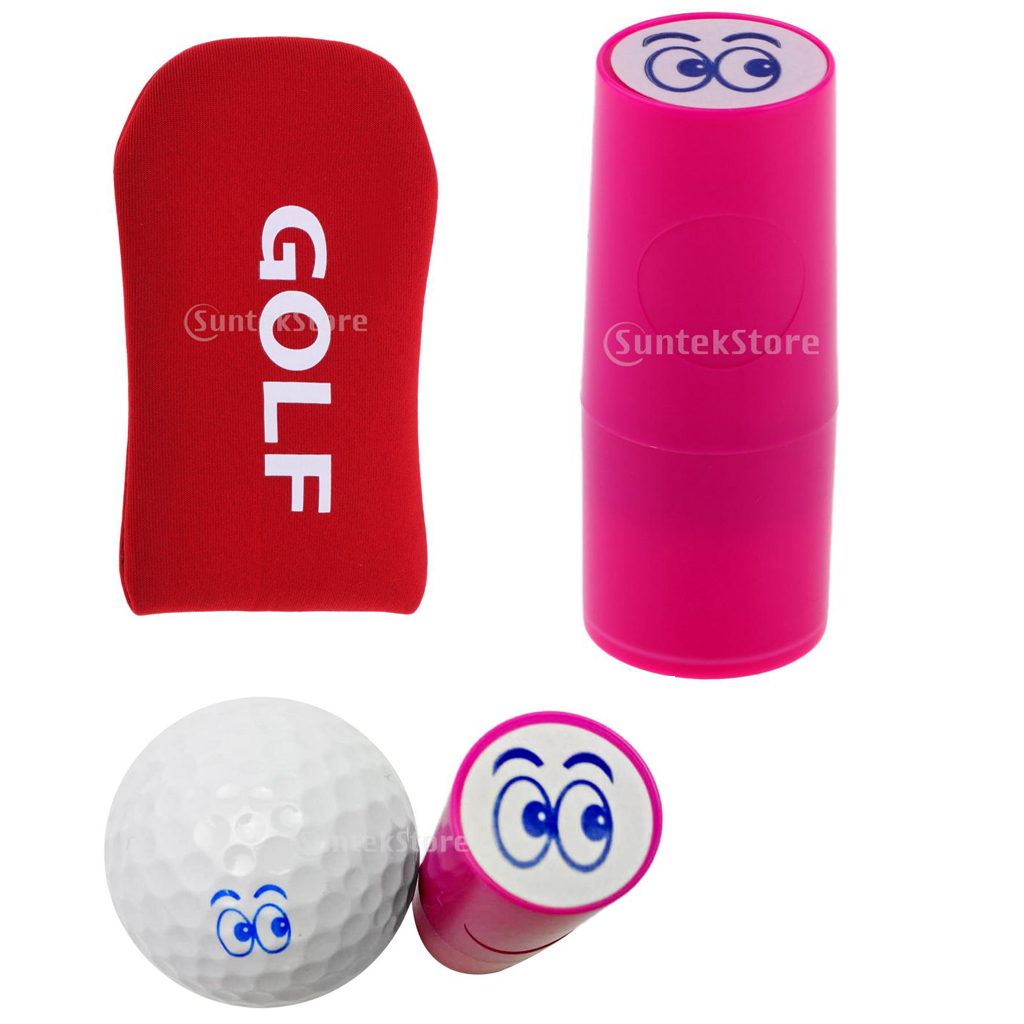 1x Golf Ball Stamp Stamper Marker Eyes+1x Golf Mallet Headcover Putter Cover