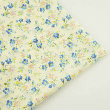 New Arrival Light Yellow 100% Cotton Plain Fabric Lovely Blue Flower for Beginner's Practice Curtain Pillow Tilda Doll Patchwork(China)