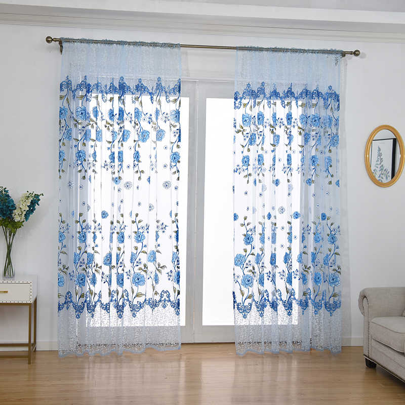 100x200cm Floral Peony Sheer Window Gauze Curtain Decoration For Living Room Purple/Pink/Green/Blue/Khaki Gauze
