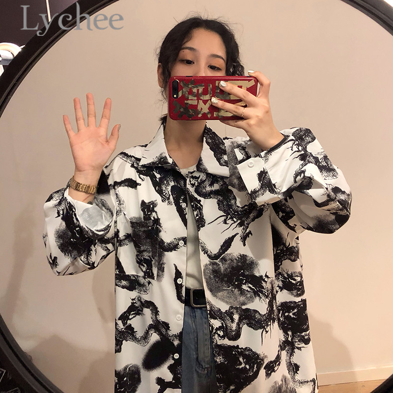 Lychee Streetwear Ink Dragon Print Women Blouse Shirts Long Sleeve Casual Loose Female Blouse Tops by Lychee