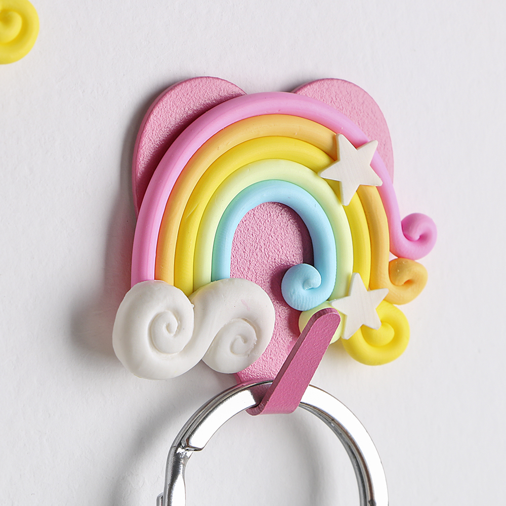 Bedroom Decor Hooks Wall Coat Keys Bags Clothes Hanger Strong Suction Self Adhesive Cute Fantasy Rainbow Shape Wall Hooks