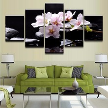 Modern HD Printed Canvas Pictures Frame Wall Art 5 Pieces Pink Flower Reflection Painting Poster For Living Room Decorative
