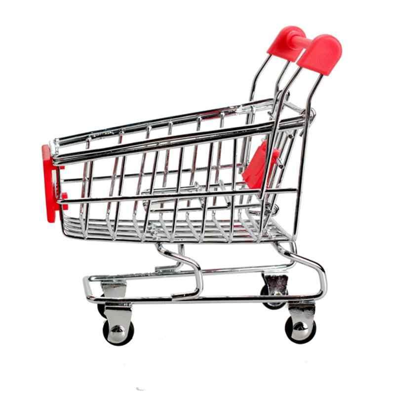 1 pçs mini supermercado carrinho de mão rack de armazenamento carrinho de utilidade de compras modo sala de estar sundries telefone titular brinquedo recipiente de armazenamento