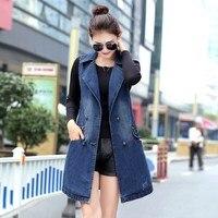 Plus Size 3Xl 2019 Spring New Blue Denim Jacket Solid Sleeveless Denim Waistcoat Women Long Jeans Outerwear