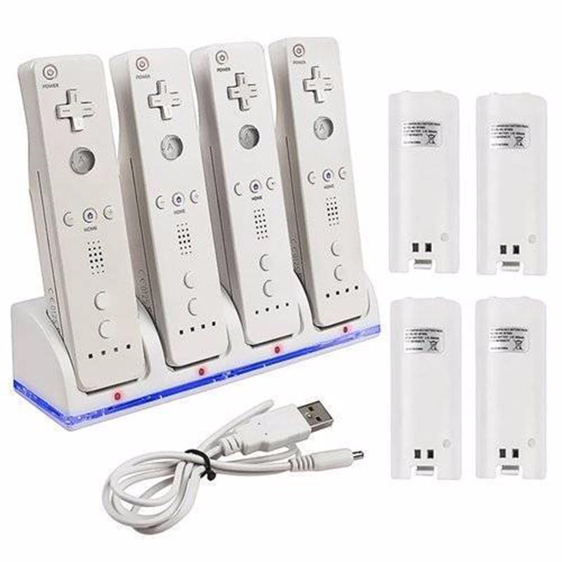 Profession Wii-Battery Charger Dock Stand + 4 X 2800 MAh Rechargeable Batteries For Switch Remote Controller Accessory