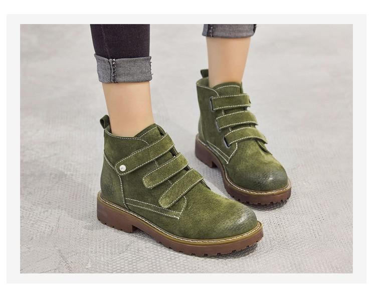 Med Gris Bottes Solide D'hiver Femmes Boucle Chaussures vert Cuir Rond jaune À De Coudre En Mode Véritable Martin Taille Crochet Grande Basiques Bout Cheville IY6vfgy7b