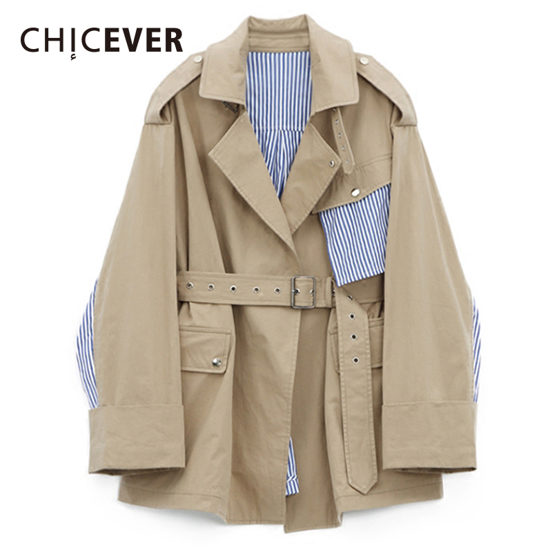 CHICEVER Autumn Trench Coat For Women Windbreaker Patchwork Striped Long Sleeve Adjustable Casual Coat Female Clothes Fashion