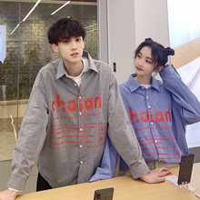 Mens Shirt 2019 Spring New Stitching Plaid Korean Couple Loose Long Sleeve Youth Pop Black Casual Wear...