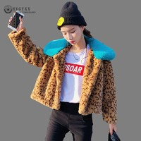 2019 Luxury Faux Fur Coat Leopard Print Jacket Woman Winter Teddy Jackets Short Slim Warm Outwear Korean Casaco Feminino OKD612
