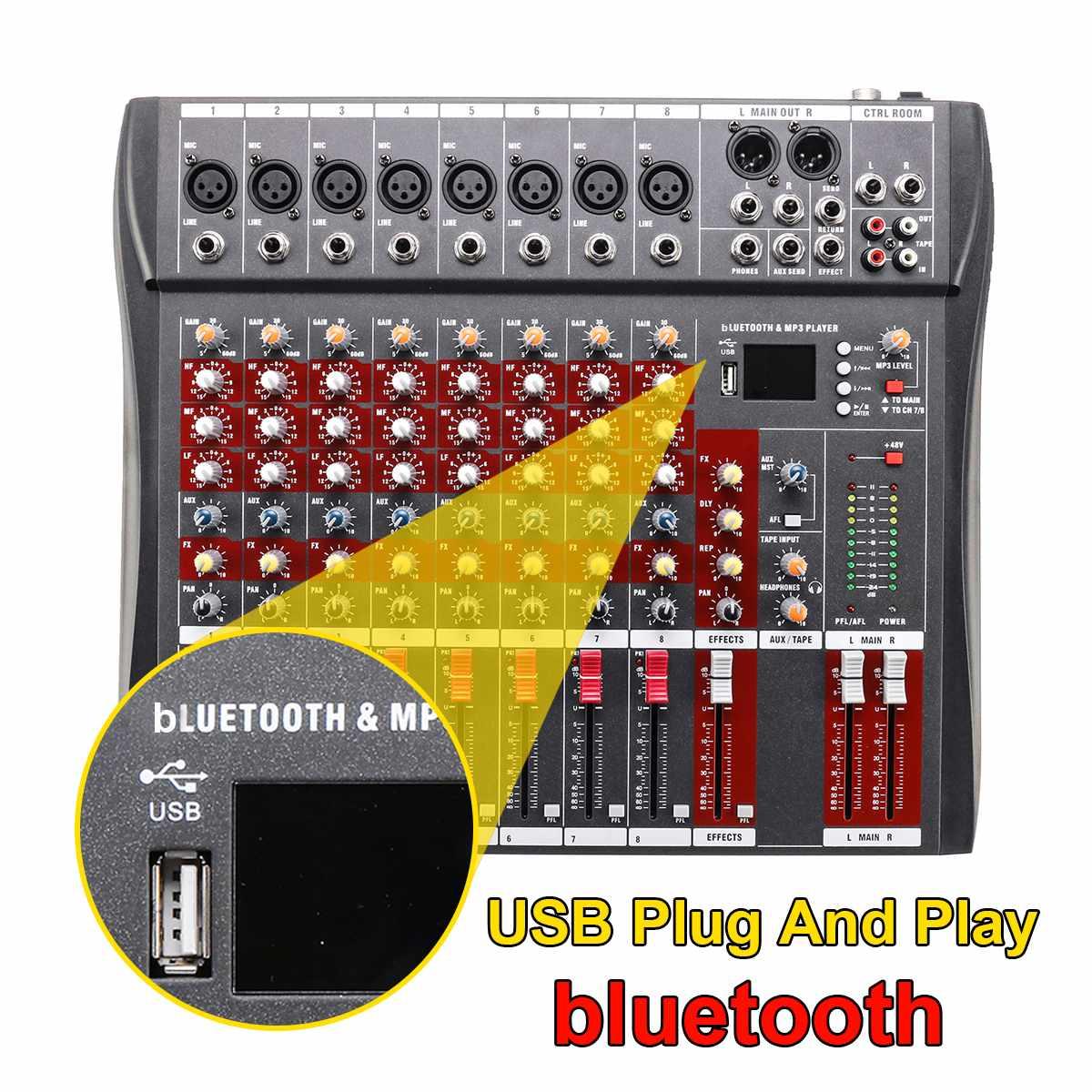 Console de mixage Audio 8 canaux DJ avec prise USB bluetooth Console de mixage Audio karaoké professionnelle Live Studio alimentation fantôme 48 V