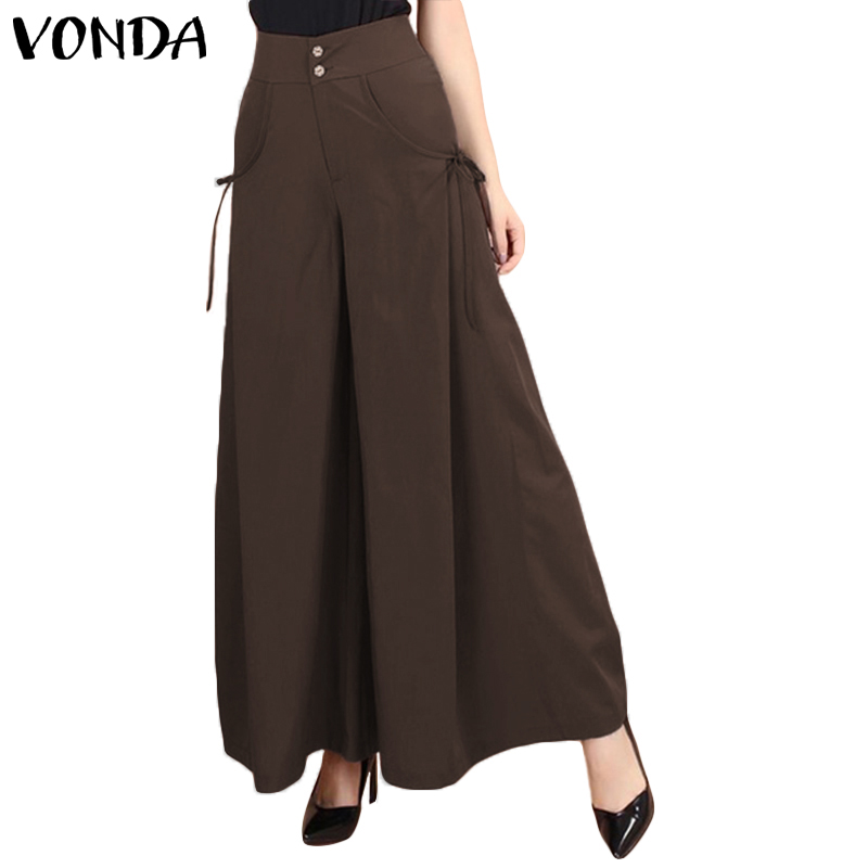 VONDA Women   Pants   2019 Fashion Office Ladies   Wide     Leg     Pants   Casual Loose Elastic Waist Trousers Plus Size Bottoms 5XL