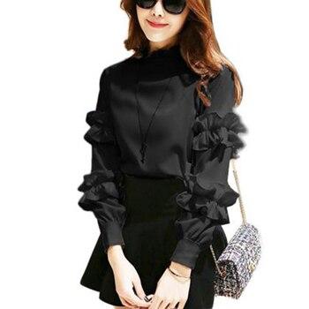 951d217a4c1 Стильная женская одежда Блузка модная шифоновая рубашка осень высокая шея  длинный рукав Базовая оборки элегантная тонкая рубашка женские .