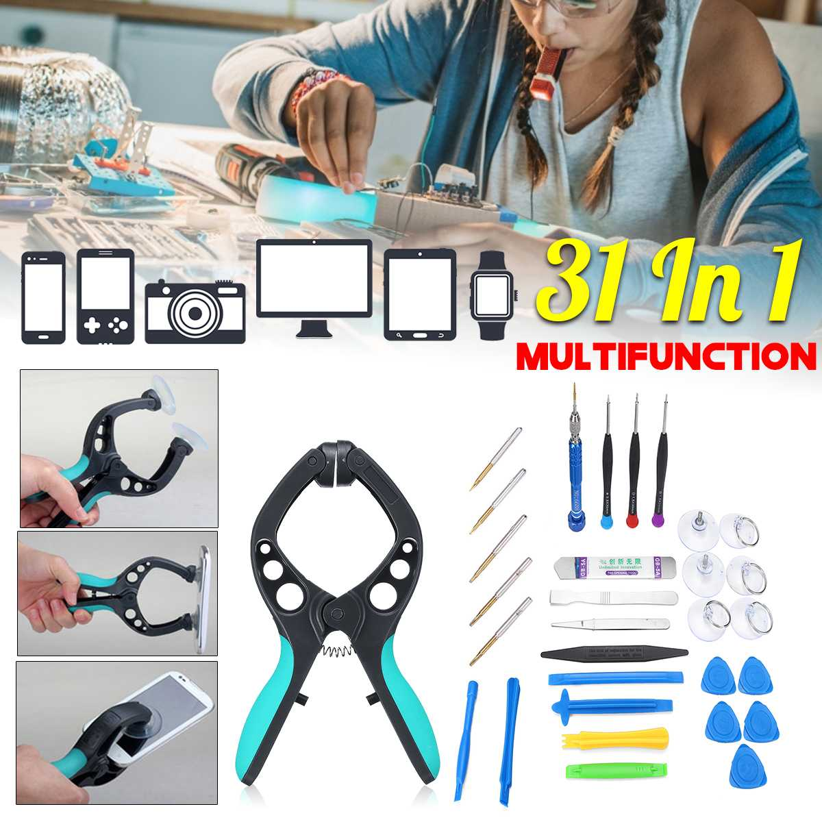 31In1 For IPhone PC Mobile Phone Screen LCD Opening Repair Tool Kit Screwdriver Repairing Opining Installing Professional31In1 For IPhone PC Mobile Phone Screen LCD Opening Repair Tool Kit Screwdriver Repairing Opining Installing Professional