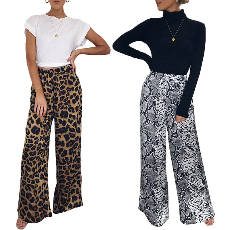 Women Flare Pants Leopard Print Casual Long Pants Lady Snake Printed Harem Pant Women Casual Wide Leg Long Trousers Flared Pant