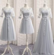 Pink Tulle Bridesmaid Dresses A Line O Neck Half Sleeve Elegant Dress Women For Wedding Party Vestidos De Dama De Honra 2019 цена 2017