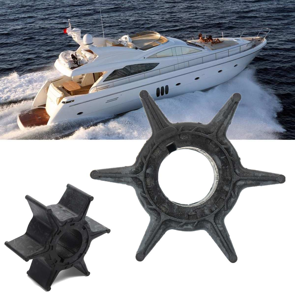6H4-44352-01 676-44352-01 Water Pump Impeller For Yamaha Outboard (25/30/40/50HP) Sierra 18-3068 2/4 Stroke 6 Blades Rubber