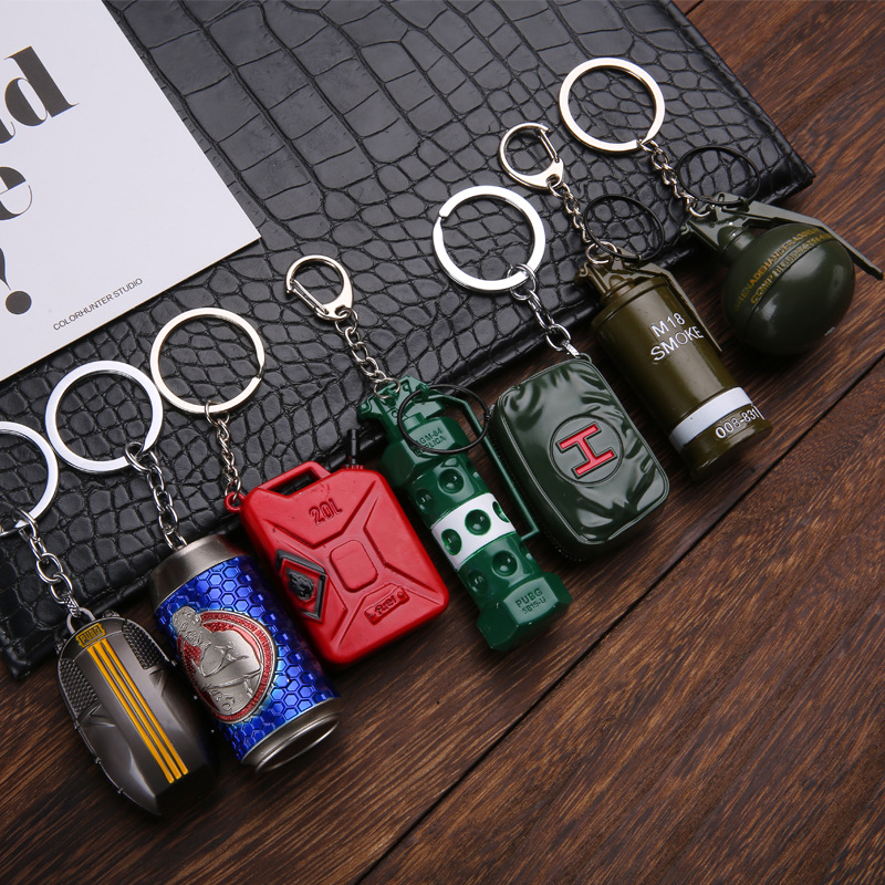<font><b>Keychain</b></font> Pendant Trinket Game PUBG <font><b>CS</b></font> GO FPS Smoke Bombs Drink Parachute Bags Airplanes Key Chain Ring for Men Gifts Souvenirs image