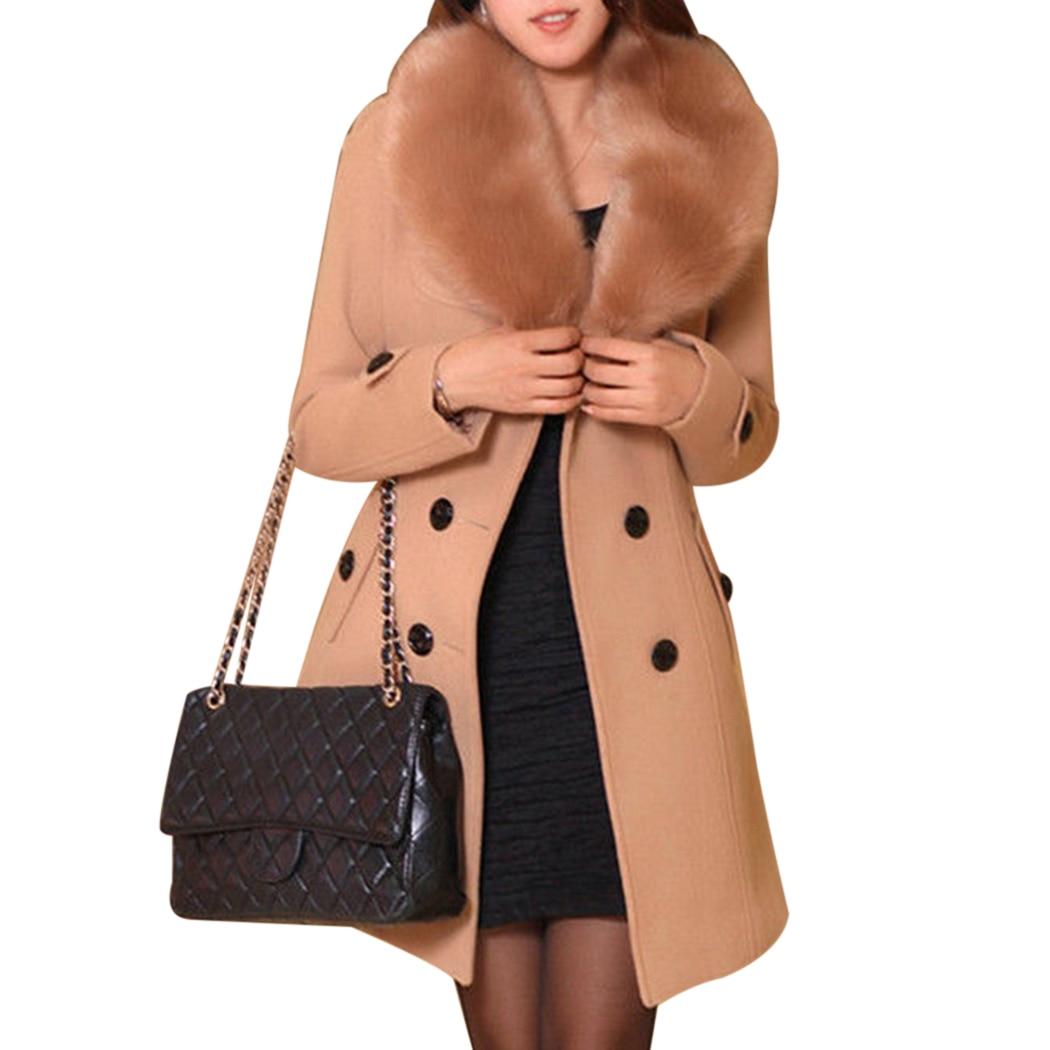 Double Élégante Avec Manteau De Pardessus Femmes Black brown Laine gray 2018 Hiver Manteaux Ceinture Femelle Boutonnage Fourrure Longue Col Fit Chaud Outwear Veste Slim v8qatwqfx7