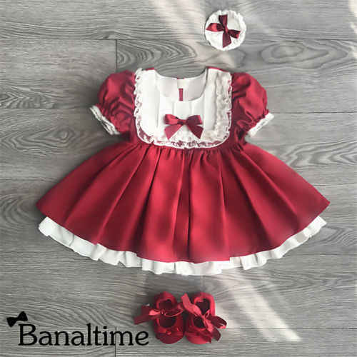 UK Baby Girl Christmas Tartan Dress Party Pageant Prom With Knickers Bonnet Sets