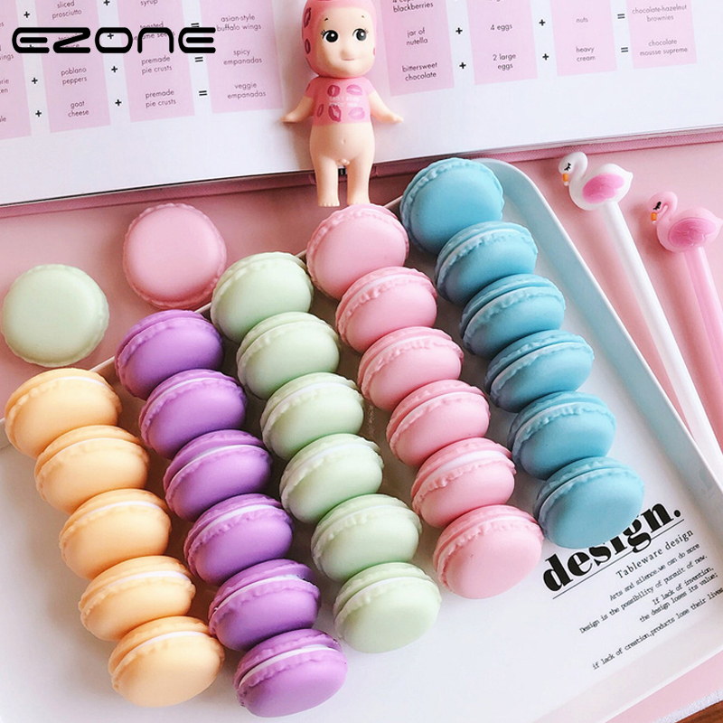 EZONE Stationery Storage Box Design Of Macaron Cake Shape Candy Color Paper Clip Bookmark Eraser Cases Pill Box Office Supply