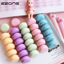 Купить с кэшбэком EZONE Stationery Storage Box Design Of Macaron Cake Shape Candy Color Paper Clip Bookmark Eraser Cases Pill Box Office Supply