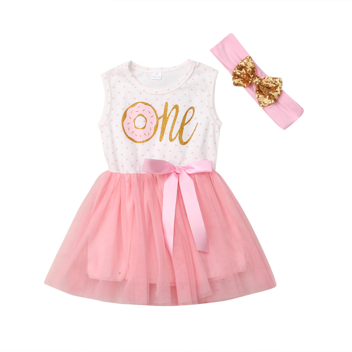 Infant Baby Kids Girl Princess Party Dress+Headband Outfit Sister Clothes Set US