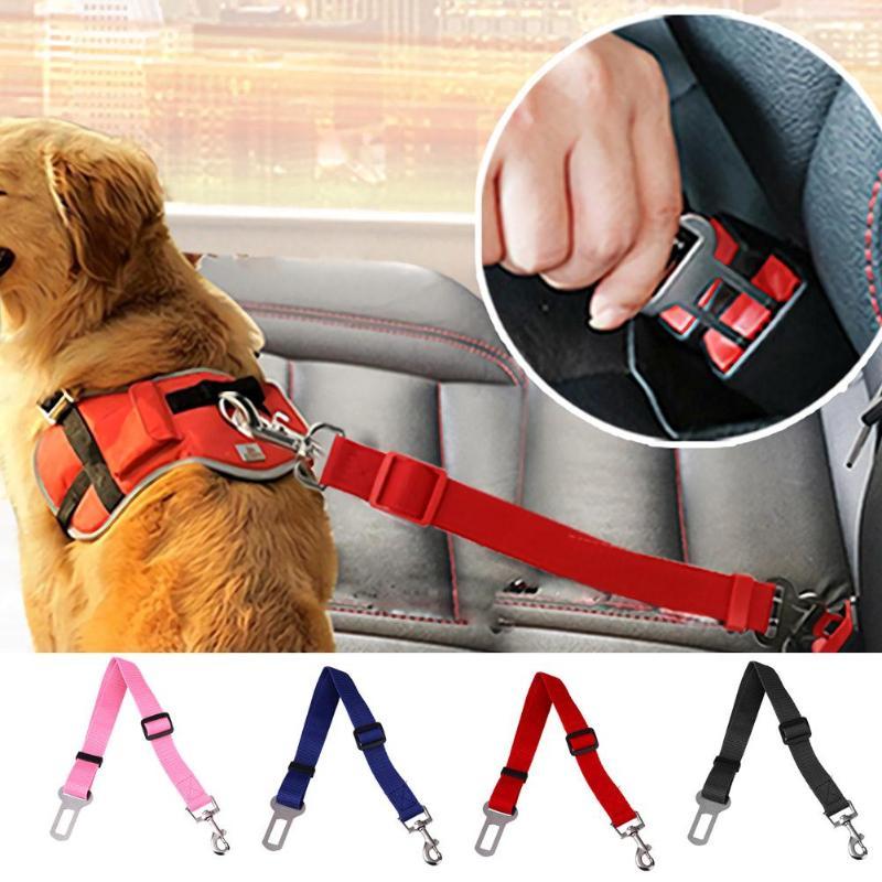 Harnais de siège pour chiens réglable   Ceinture de sécurité pour animaux domestiques, corde de Traction, plomb réglable, fournitures pour chiens, levier de sécurité, Traction automobile