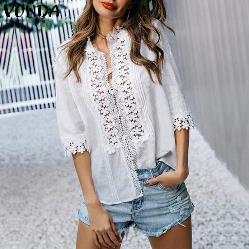 VONDA Summer Women Floral Blouses 2019 Vintage Seven Sleeve Sexy V Neck Lace OL Office Shirt Blouse Beach Party Blusas S-5XL