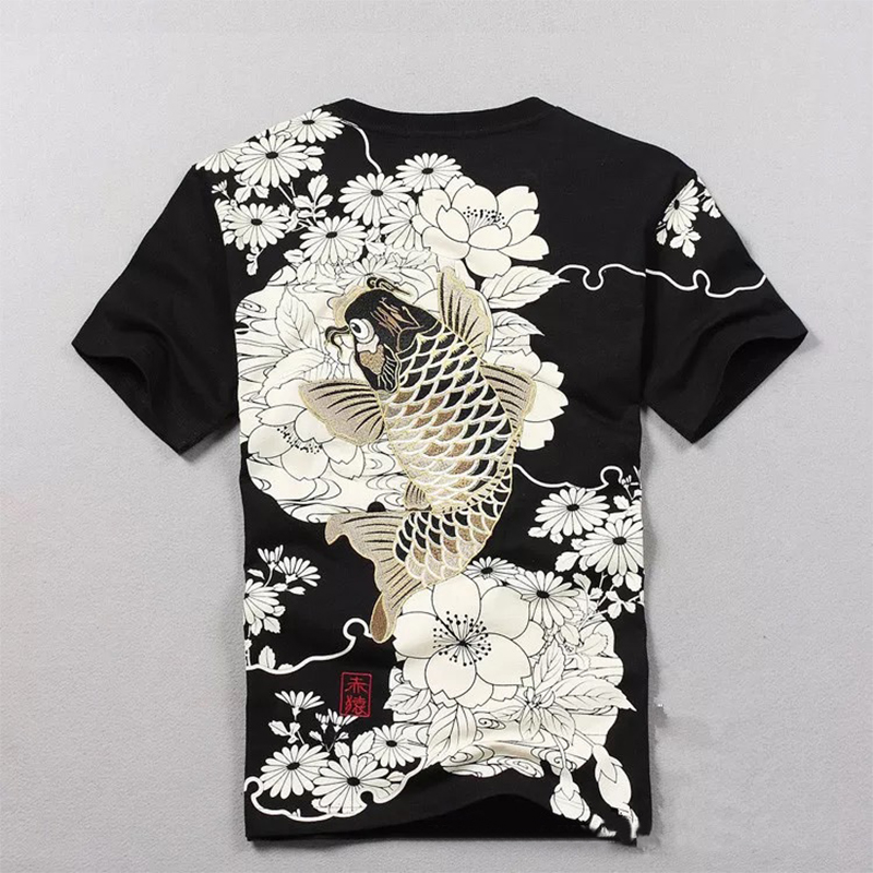 Tshirt Hot Sale T Shirt Men Quality Goods Embroidery With Short Carp Tattoo Short-sleeved O-neck Cotton Casual 2019 New Arrival