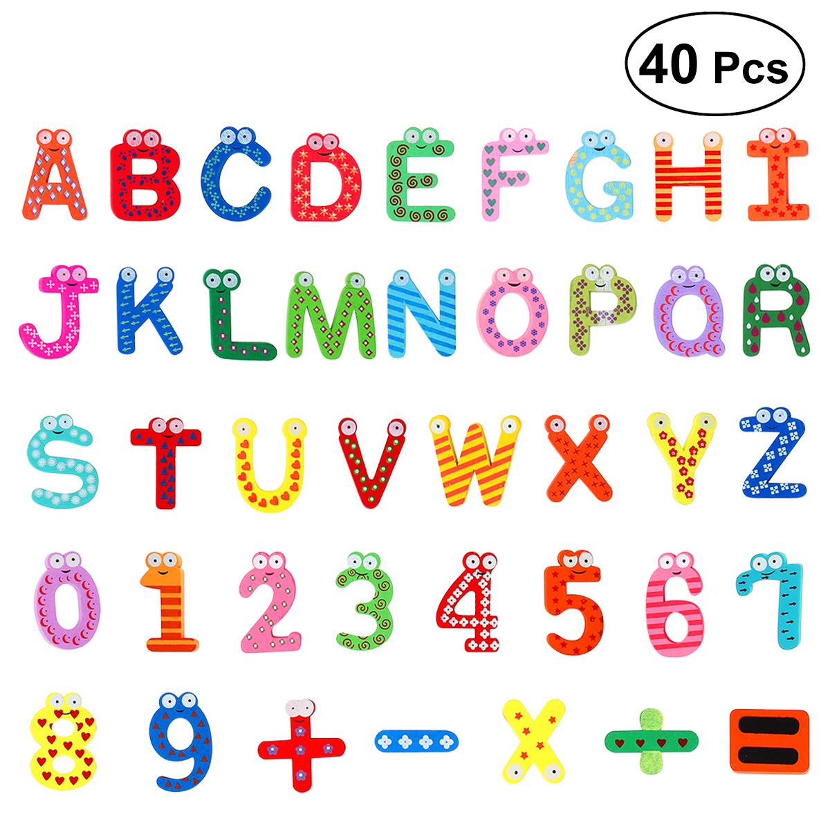 Gift Set Magnets Teaching Alphabet Set Of 40 Colorful Magnetic Fridge Letters & Numbers Education Learn Cute Kid Baby Toy