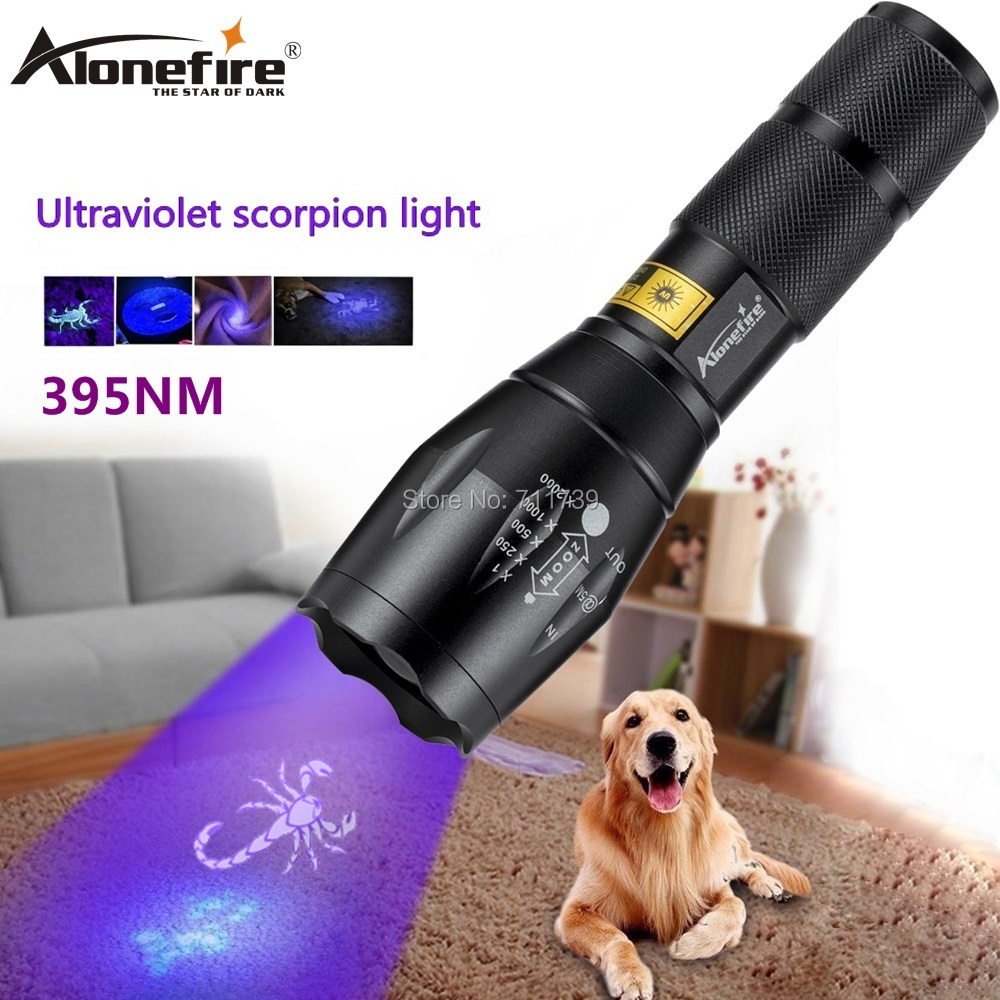 AloneFire G700 LED Zoom UV Light Flashlight 395nm torch UV adhesive curing Travel safety Ore id detection lamp AAA 18650 battery image