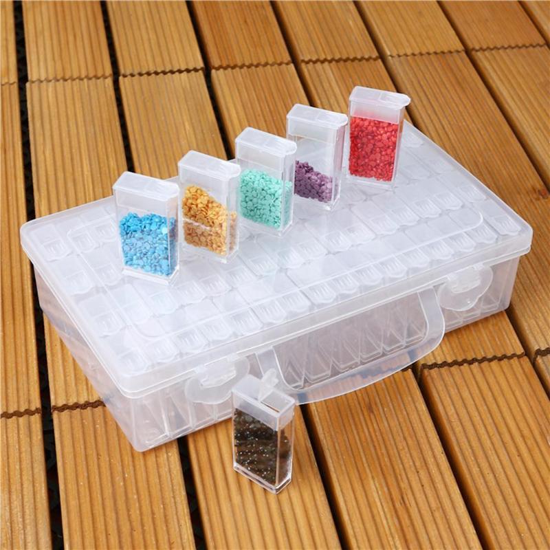 64 Slots Flaschen Kunststoff Diamant Malerei Lagerung Box Kunststoff Lagerung Box Strass Halter Diamant Malerei Box Zubehör