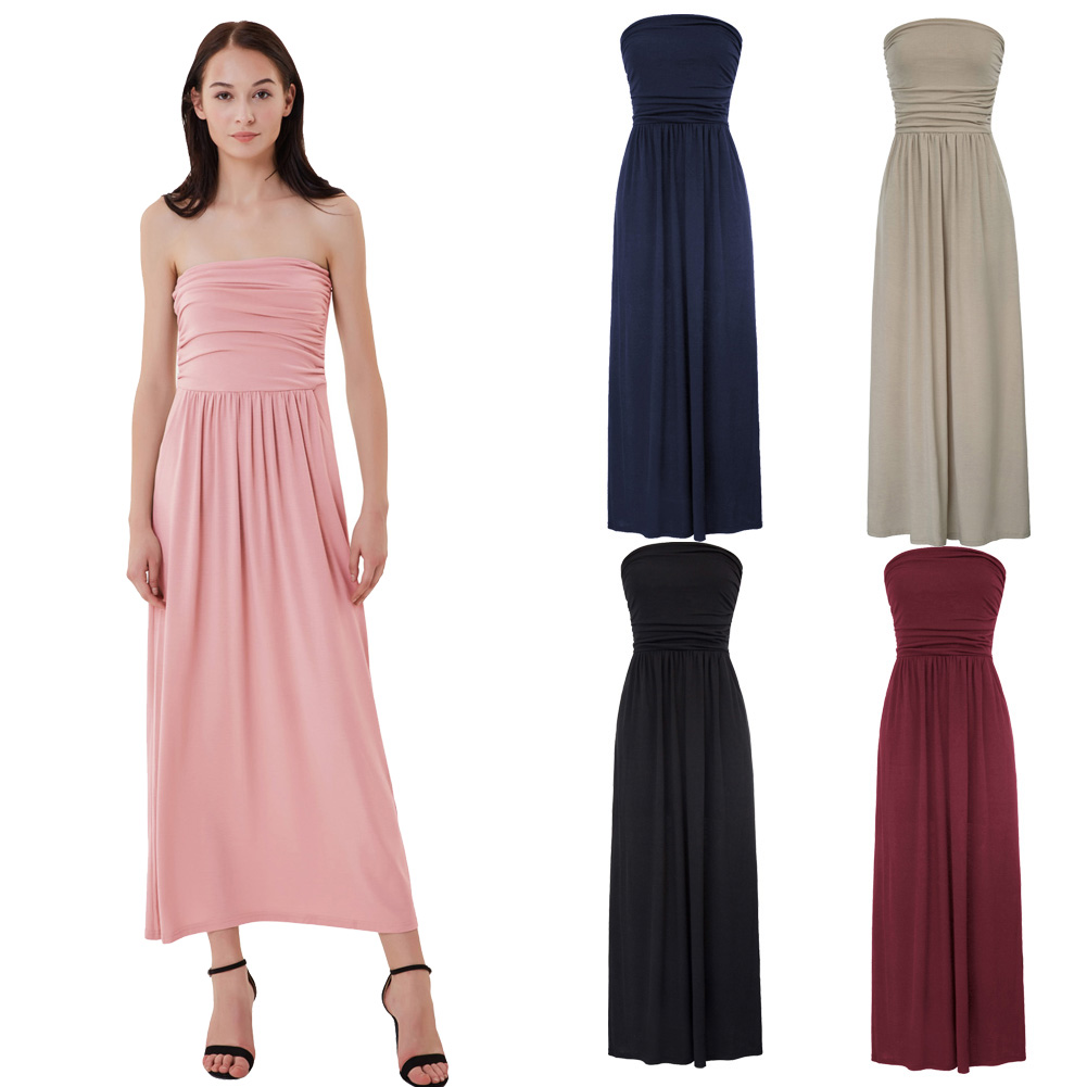 295efa0a820d Womens Strapless Maxi Dress Casual Party Tube Top Pocket Pleated Long  Sundress-in Dresses from Women's Clothing on Aliexpress.com | Alibaba Group