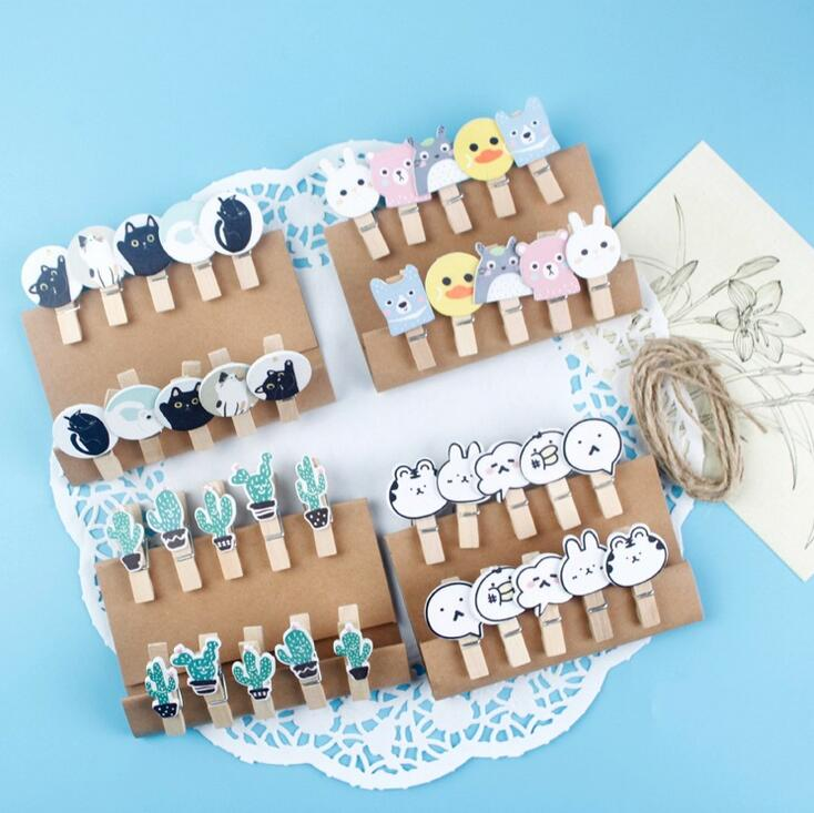 Office & School Supplies Obliging 10 Pcs/pack Kawaii W42 Cactus W24 Card Craft Cute With Hemp Rope Paper Clip Clips