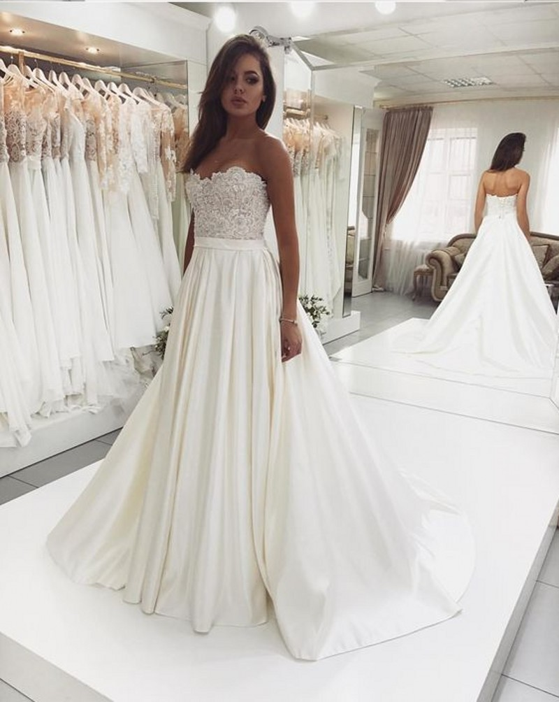 Elegant Lace Up Wedding Dress 2019 Simple A Line Bridal Dress V Neck Sexy Romantic Floor Length Wedding Gowns Vestidos De Novia