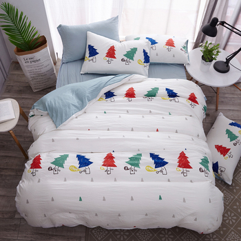 Christmas Tree Deer Duvet Cover Bedding Set Single Twin Full Queen King Size Smiling Star Cloud Bed Cover Flat Sheet Pillow 59