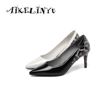 AIKELINYU 2019 Fashion Leopard Print Design Pumps Sexy High Thin Heels Quality Cow Leather Shoes Pointed Toe Womens