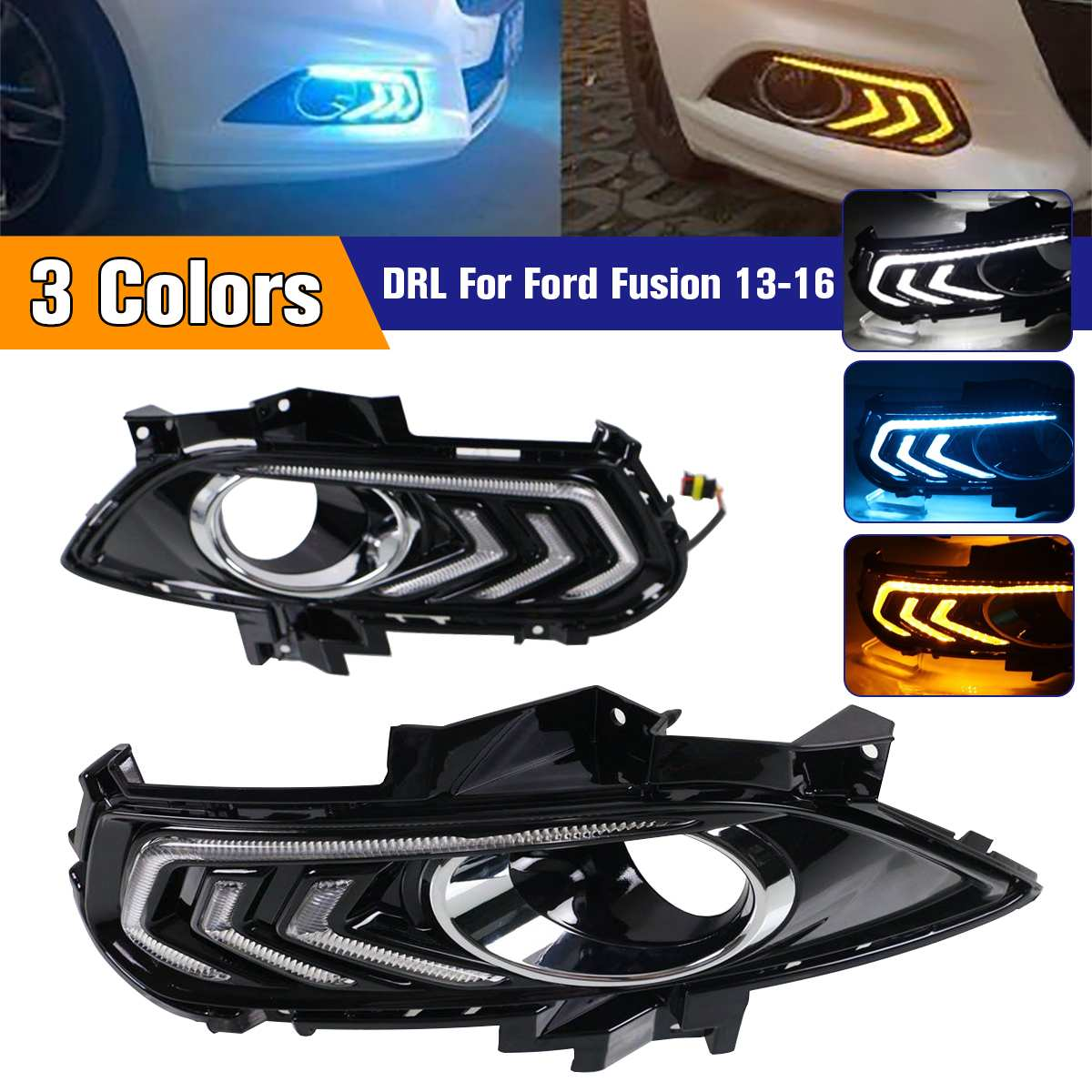 1 Set DRL Daytime Running Lights For Ford for Mondeo Fusion 2013-2016 Fog Lamp Cover With Yellow Turn Signal Night Blue1 Set DRL Daytime Running Lights For Ford for Mondeo Fusion 2013-2016 Fog Lamp Cover With Yellow Turn Signal Night Blue