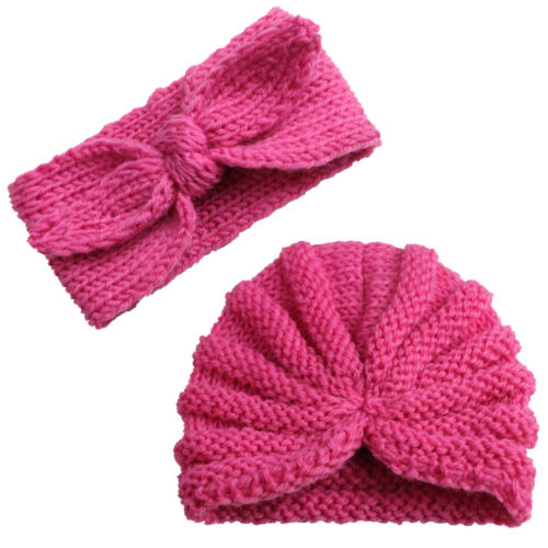 Baby Girls Turban Knot Elastic Turban Head Wrap Knit Headband Cute Hat Cotton Cap Ears Warmer Head Wear Kids Baby Accessories