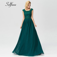 Dark Green Beaded Long Chiffon Dress Women New Arrival Elegant A Line O Neck Sleeveless Appliques Lace Party Formal Dress Maxi