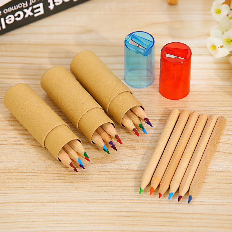 6pcs Cute Kawaii Wooden Colored Pencil With Pencil Sharpener For Kids Girls Gift Back To School Supplies Stationery