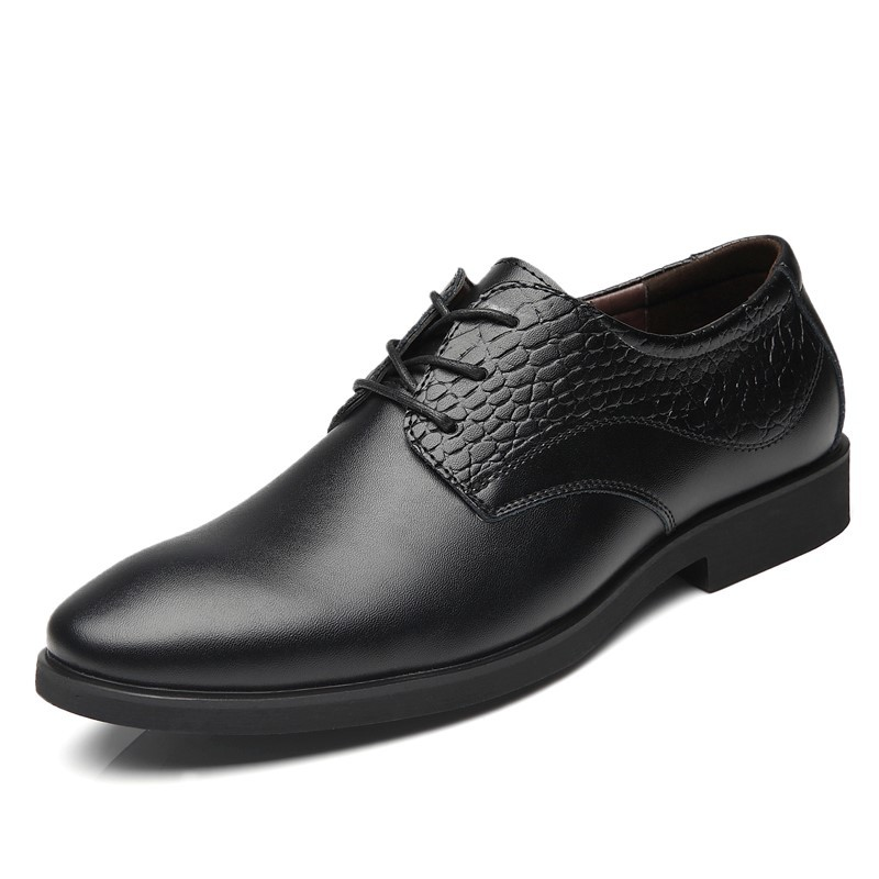 QZHSMY Men Elevator Dress Shoes black basic Man Shoes Leather Genuine Ankle