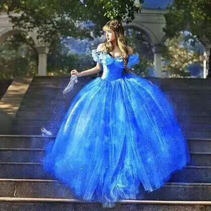 Novo Filme Scarlett Sandy Princesa Vestido Fora do Ombro Vestido azul Adulto Traje Cinderela meninas Hot Sale scarlett vestidos