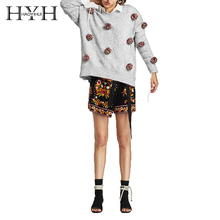 HYH HAOYIHUI Simple Commuter Autumn Womens Casual Top Flower Ball Decoration Loose Round Neck Sweater
