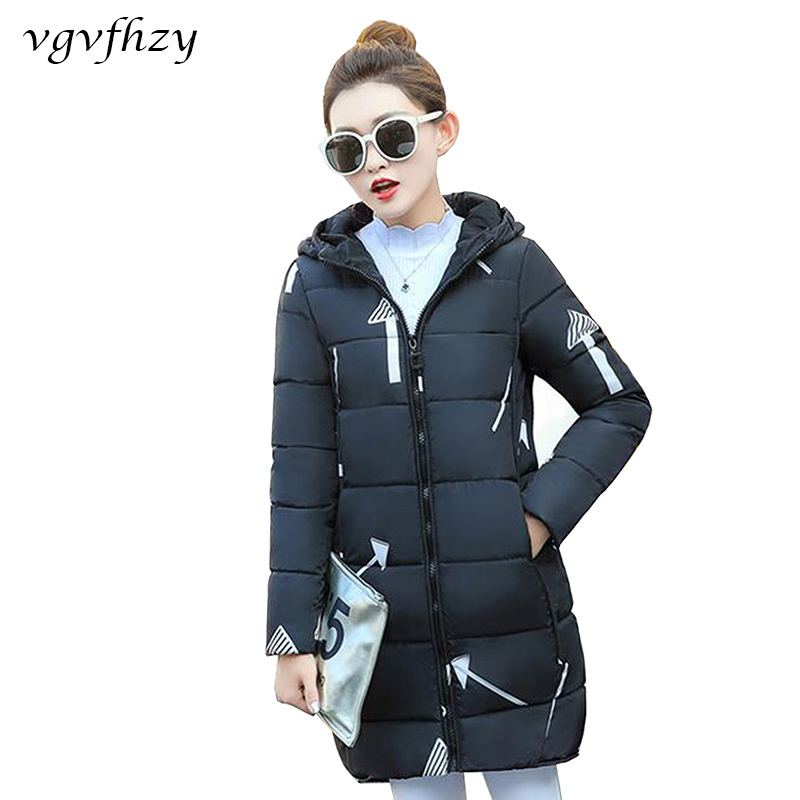 Hooded Cotton Jacket Thick Autumn 2017 Long Winter Casual Slim Clothing Coat Parkas Black white Print Padded Women Warm fq1x0xXEw