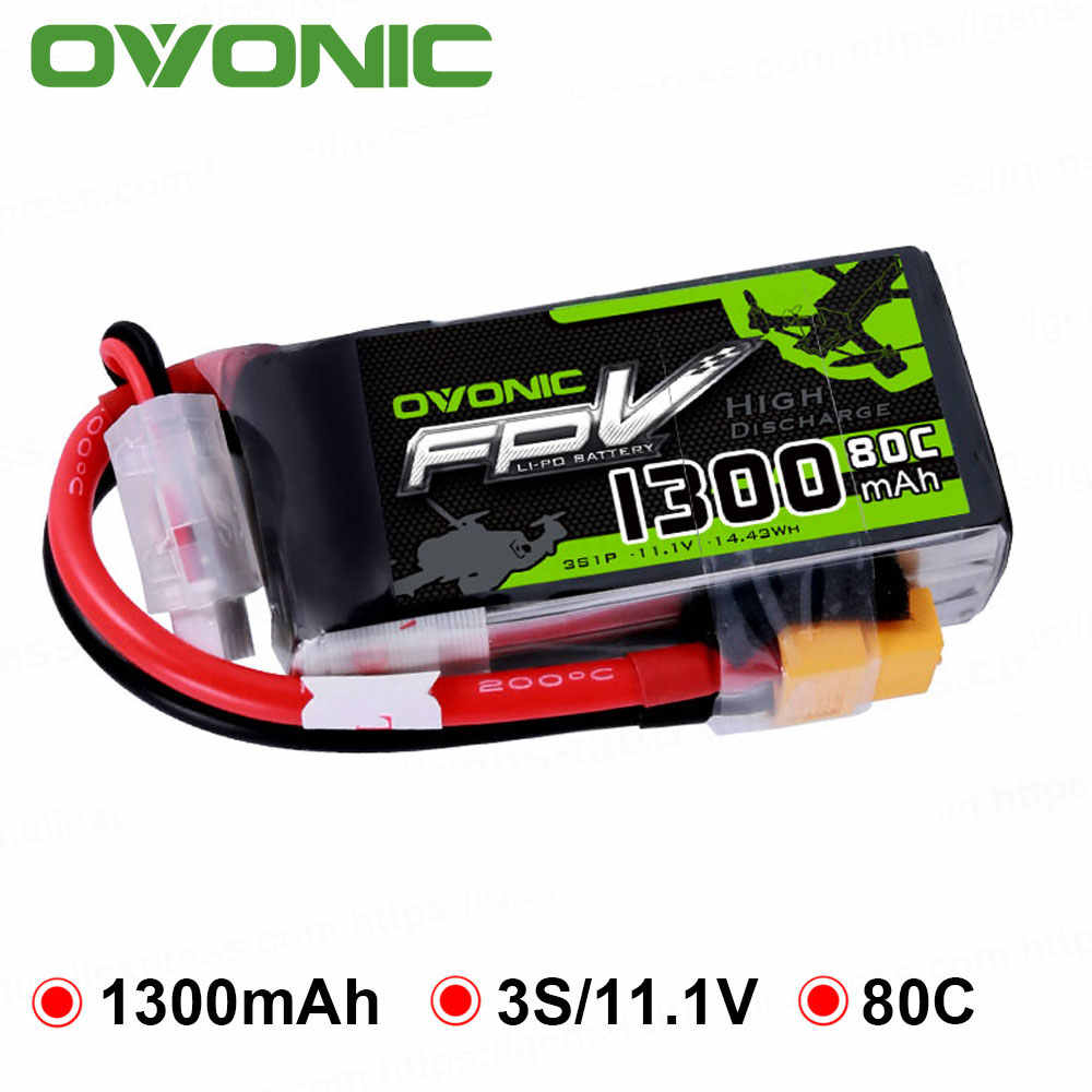 OVONIC 1300mAh 80C Max 160C Lipo 3S 11.1V Battery with XT60 Plug for 240 FPV Frame RC Drone Heli Quad Boat Car RC Tool