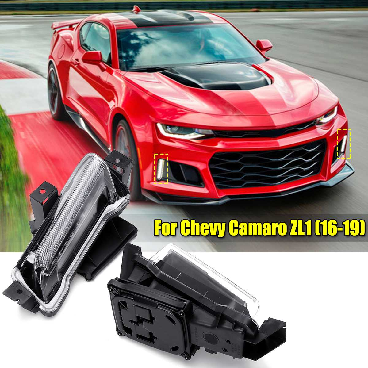 1 Pair For Chevy Camaro ZL1 1LT RS 2016+! DRL Fog White+ Amber Lights LED Clear Lens  Daytime Running Light-in Car Light Assembly from Automobiles & Motorcycles    1