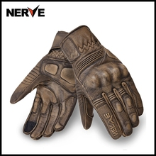 Нерв Ретро преследование из натуральной кожи мотоциклетные перчатки мото езда водостойкие полный палец перчатки большой размер S M L XL XXL 3XL