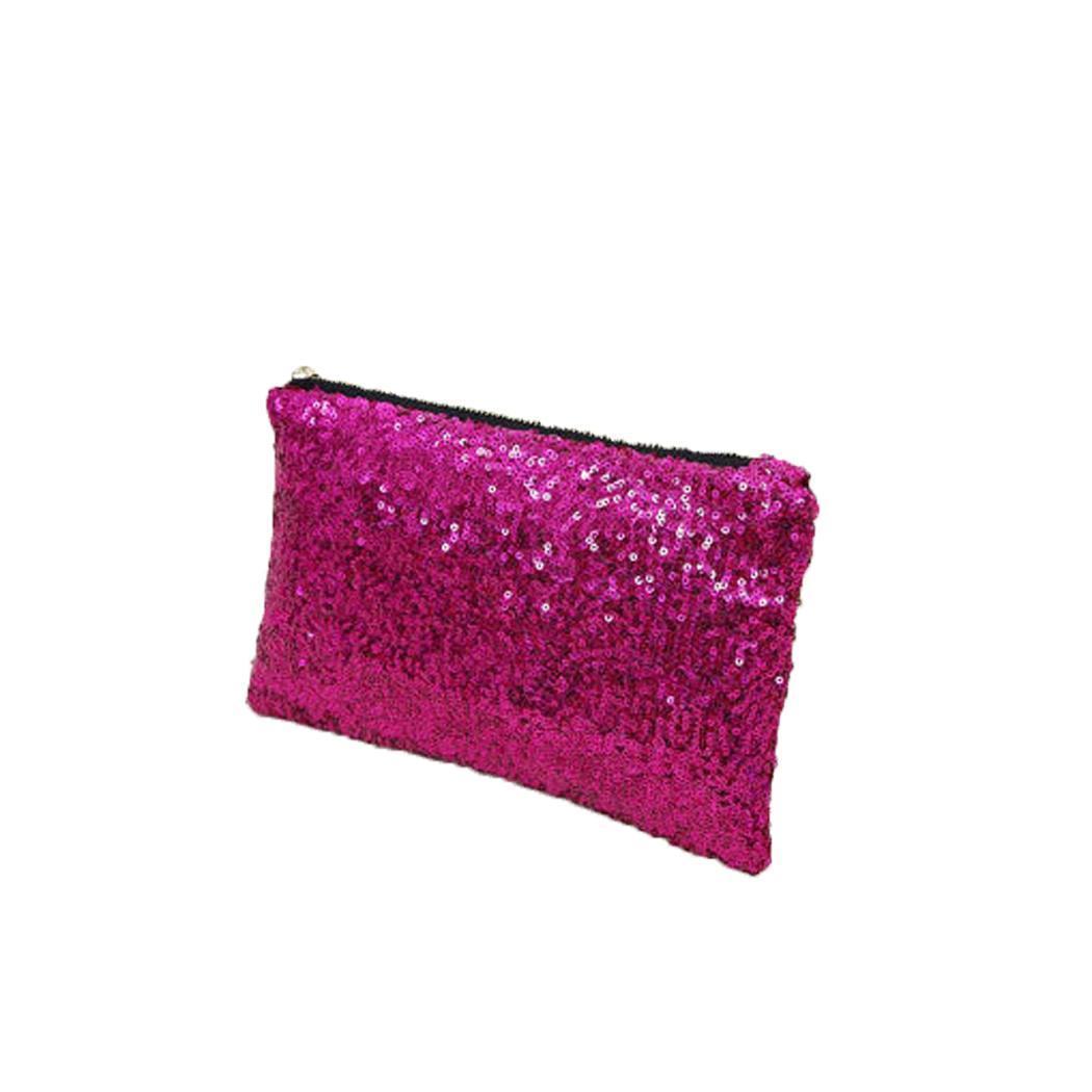 Clutch-Bag Handbag Mobile-Phone-Bag Zipper Casual Women Fashion Card Sequin Rectangular
